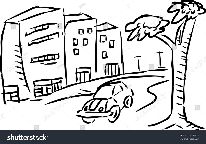 Line Art City : Simple sketch city landscape stock vector shutterstock