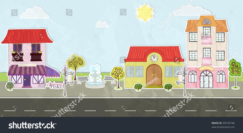 cartoon city street made paper stock vector 99196748