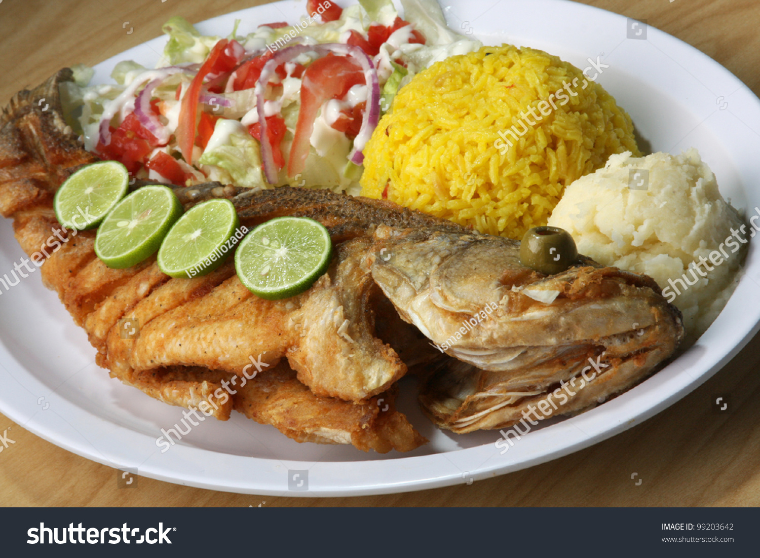 Fried Fish Fried Fish Served Side Stock Photo 99203642