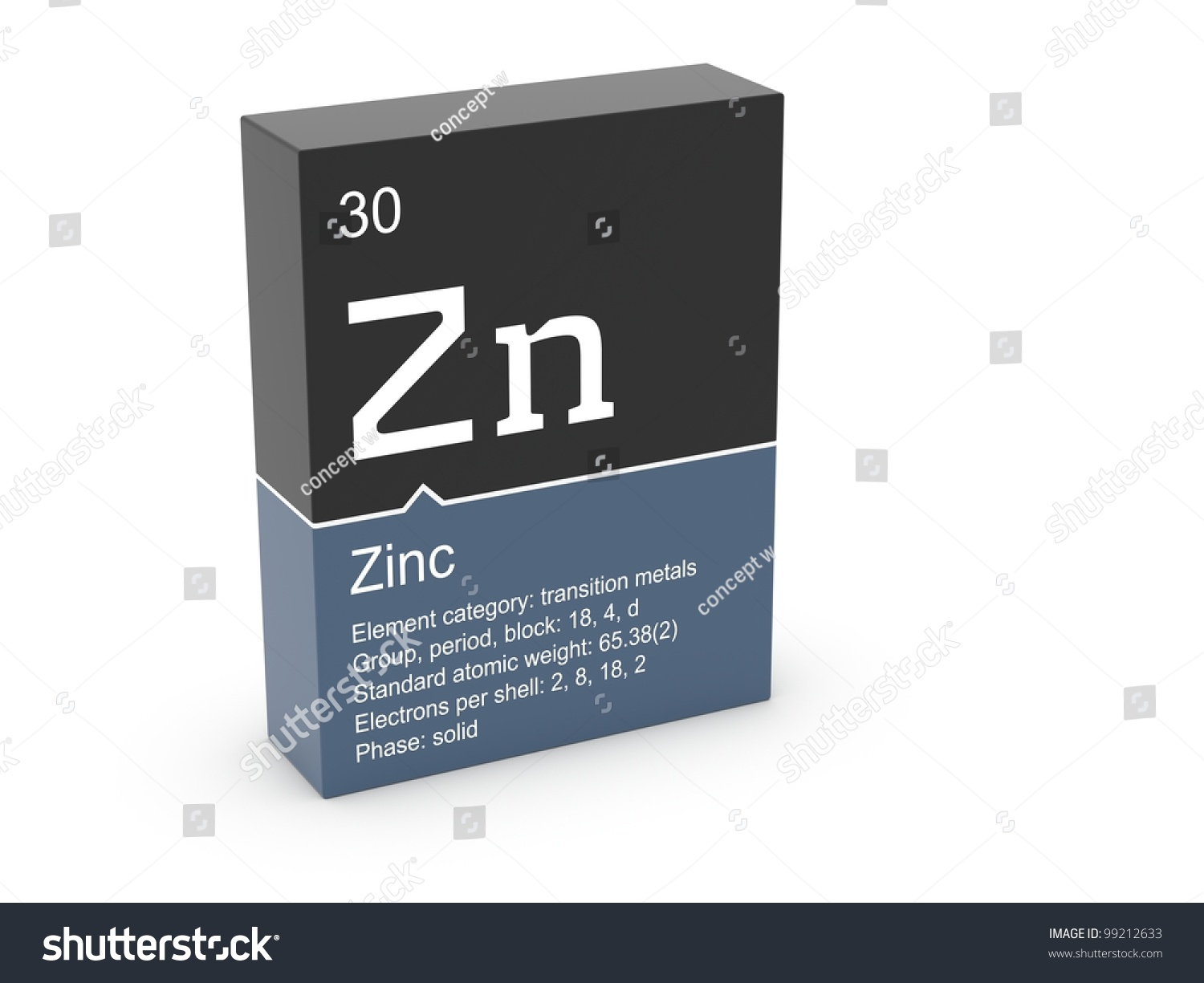 Zinc mendeleevs periodic table stock illustration 99212633 zinc from mendeleevs periodic table gamestrikefo Image collections