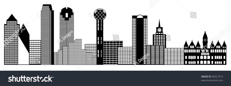 Dallas Skyline Black Outline 66