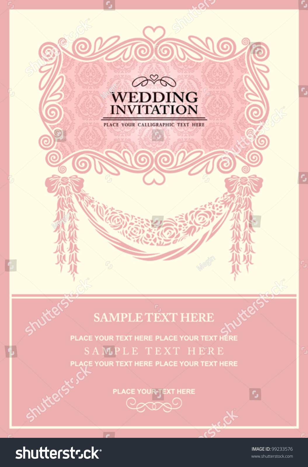 Wedding Invitation Card Abstract Background Vintage Stock Vector ...