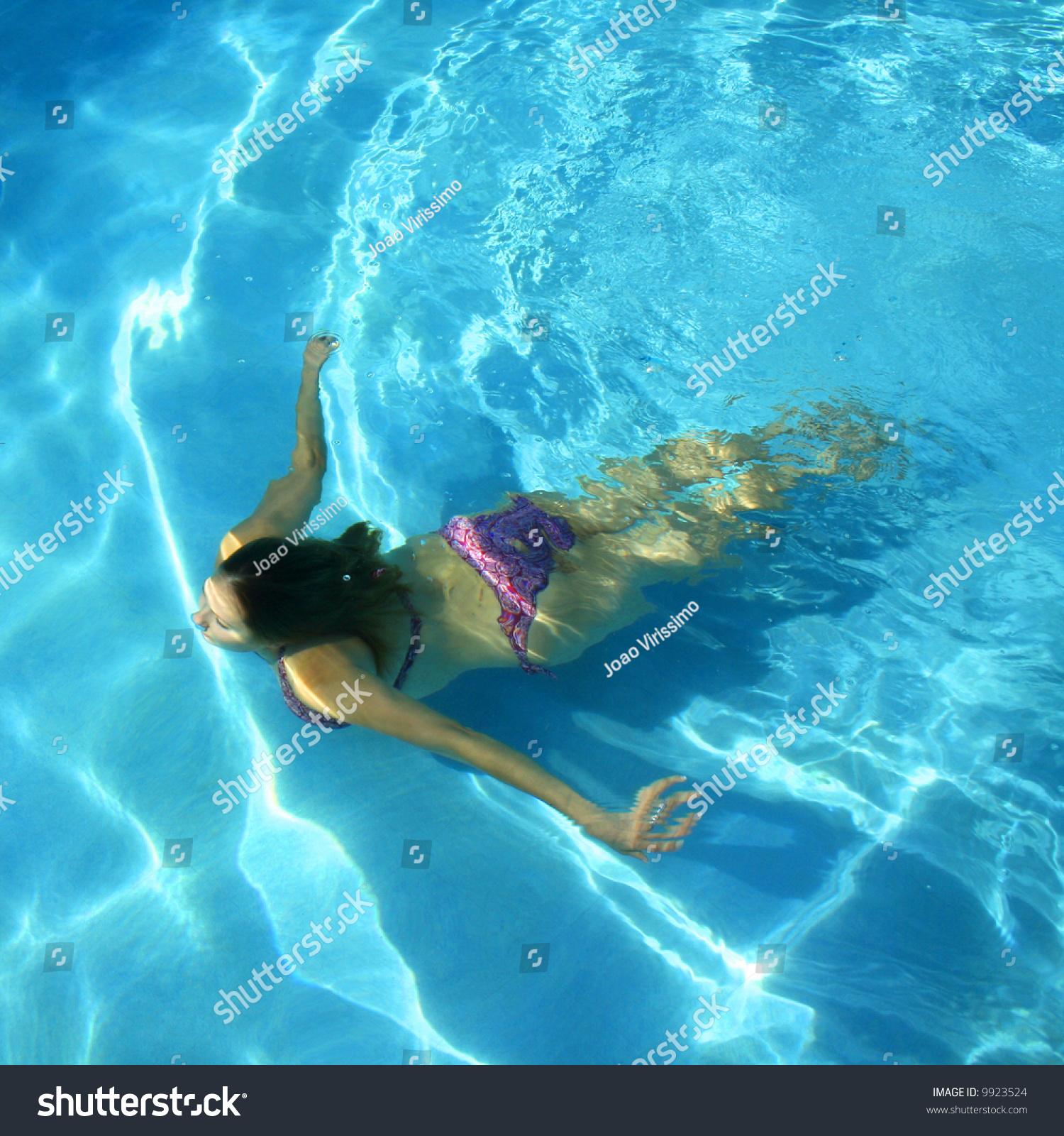 Girl Swimming Underwater Swimming Pool Stock Photo 9923524
