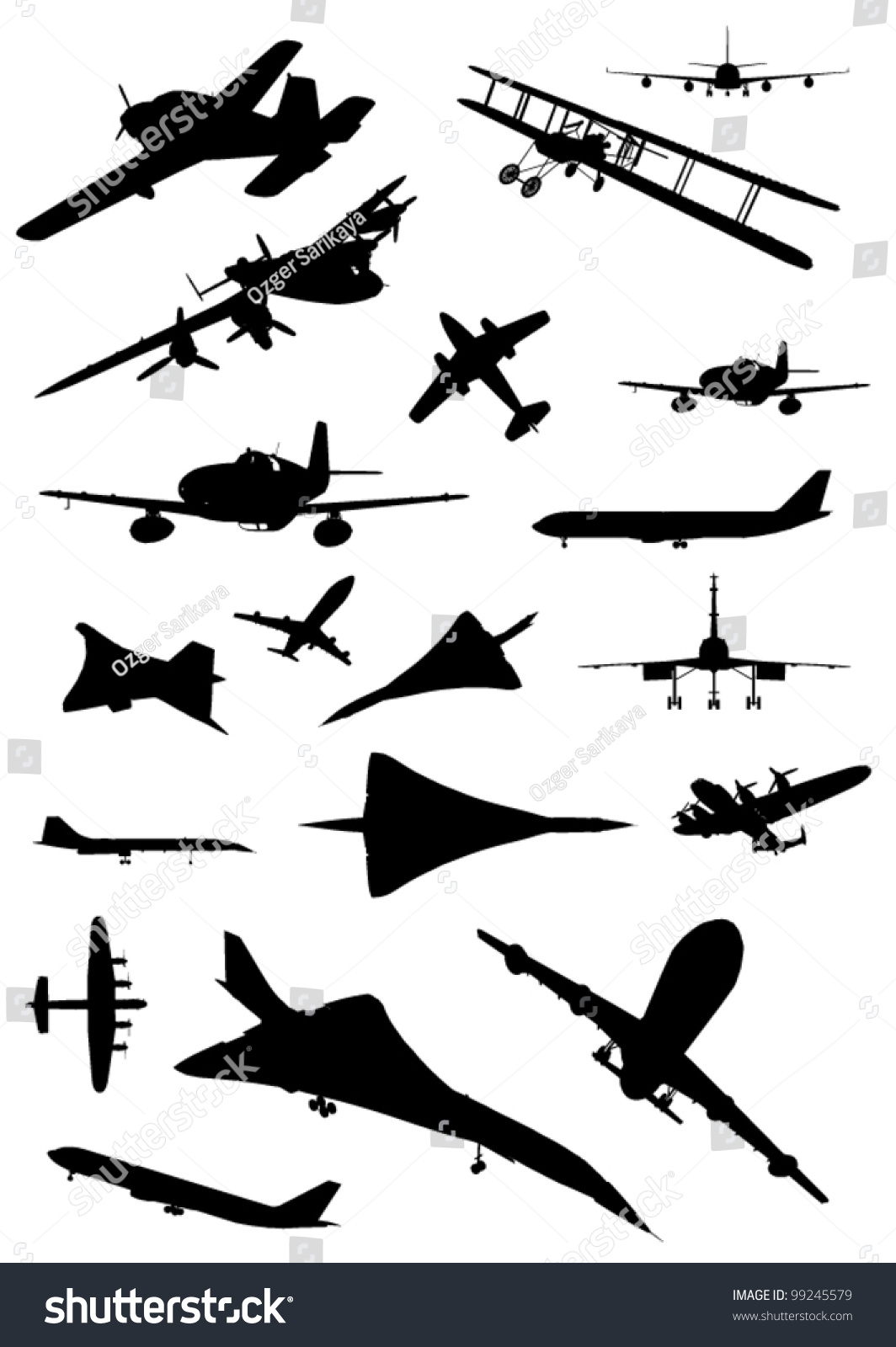 Silhouette aircraft set vector 01 - Vector Silhouettes free download