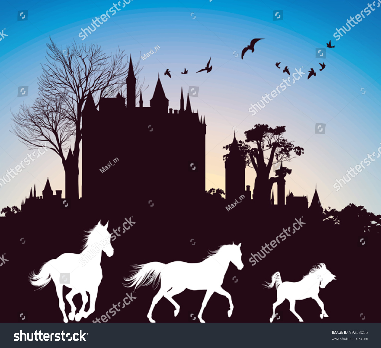 Running Horses Silhouette Wall Border Stock Vector Silhouettes Of Three Horses Running In