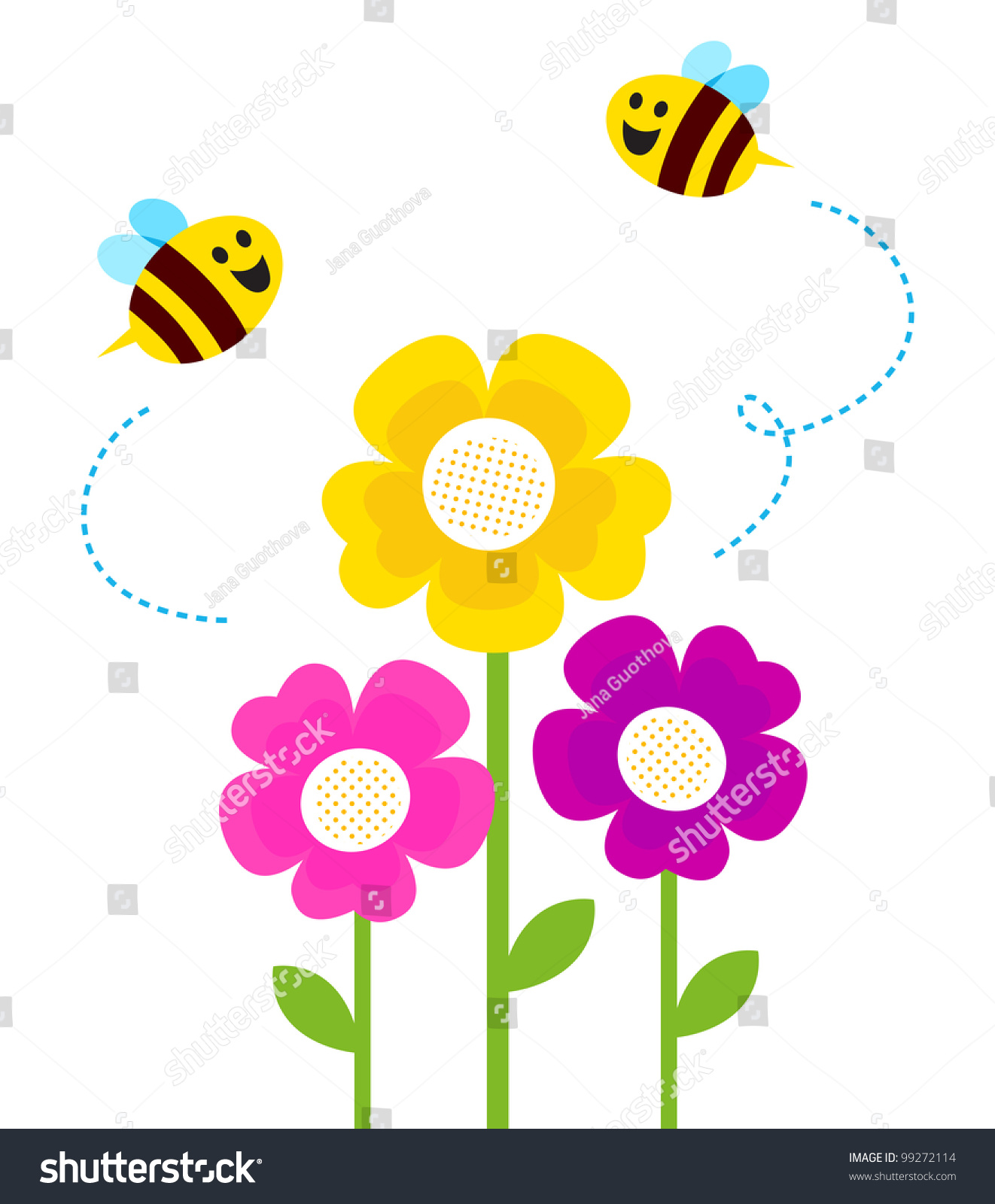 Cute spring flower - Cute Bees Flying Around Spring Flowers Isolated On White
