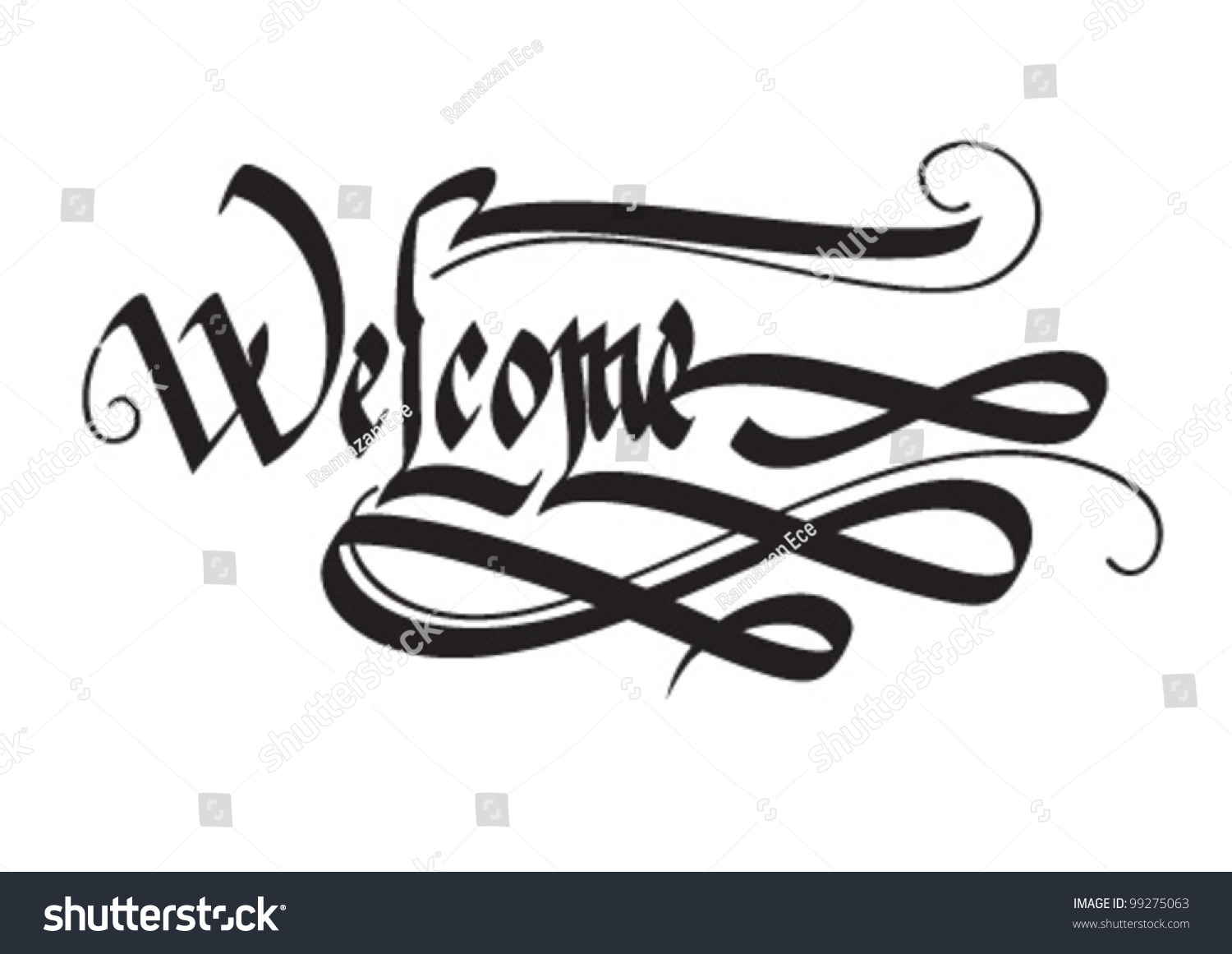 Decorative welcome word calligraphy stock vector