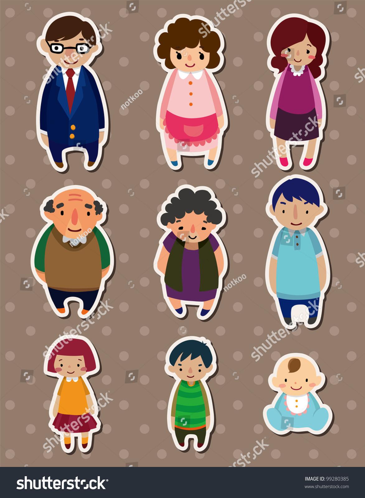 Cartoon Family Stickers,Label Stock Vector Illustration ...