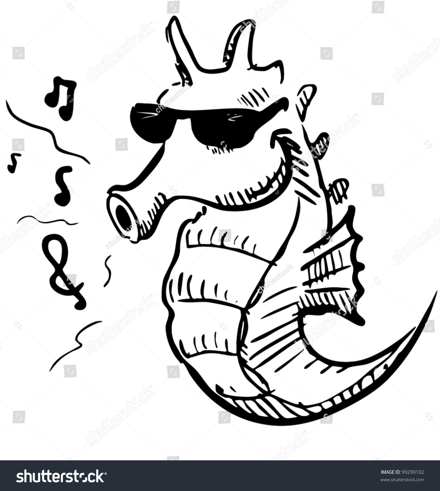 seahorse sunglasses whistling music hand drawing stock vector