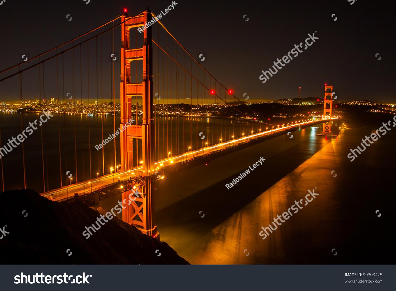 Golden gate bridge night stock photo 99303425 shutterstock for Golden night