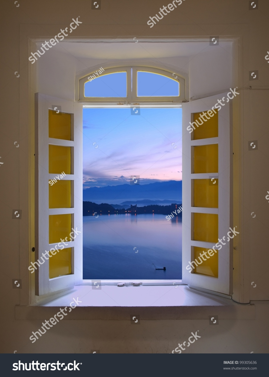 View Through Oldfashioned Window Early Morning Stock Photo