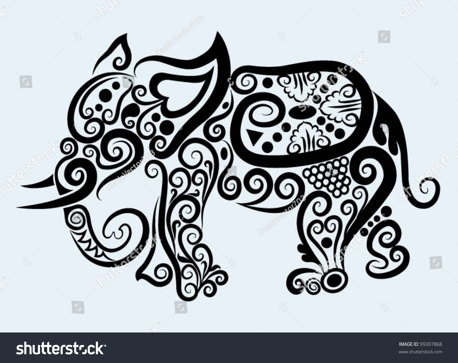 Decorative Elephant, Decorative Mammal Animal And Floral ...