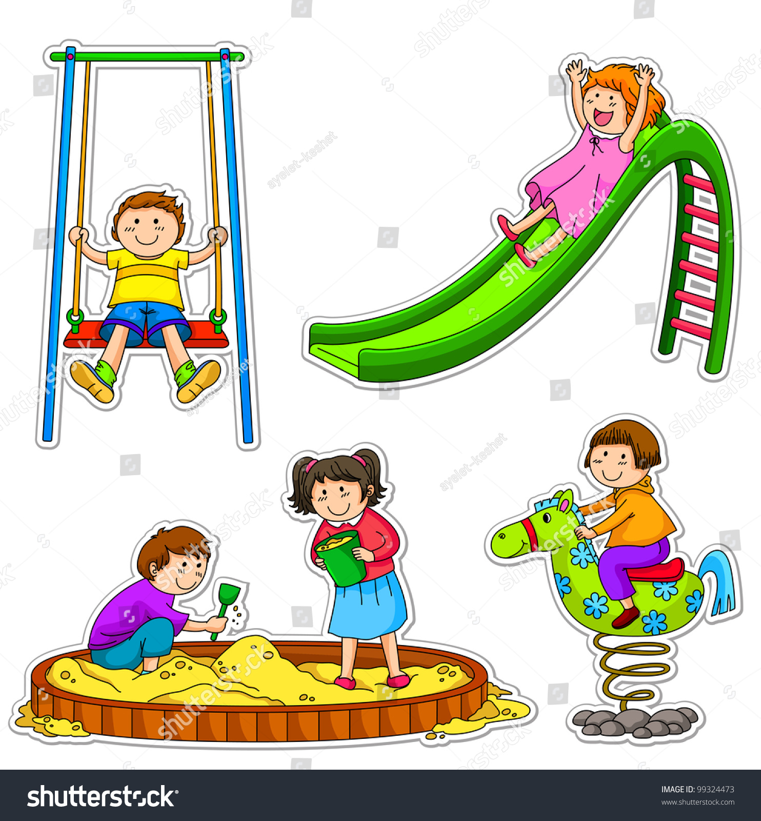 Рисунок на тему дети играют на детской площадке 4