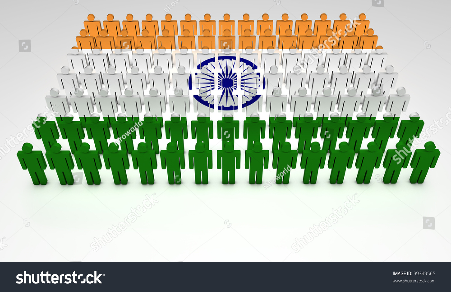 Indian Flag With Different Views: Parade Of 3d People Forming A Top View Of Indian Flag