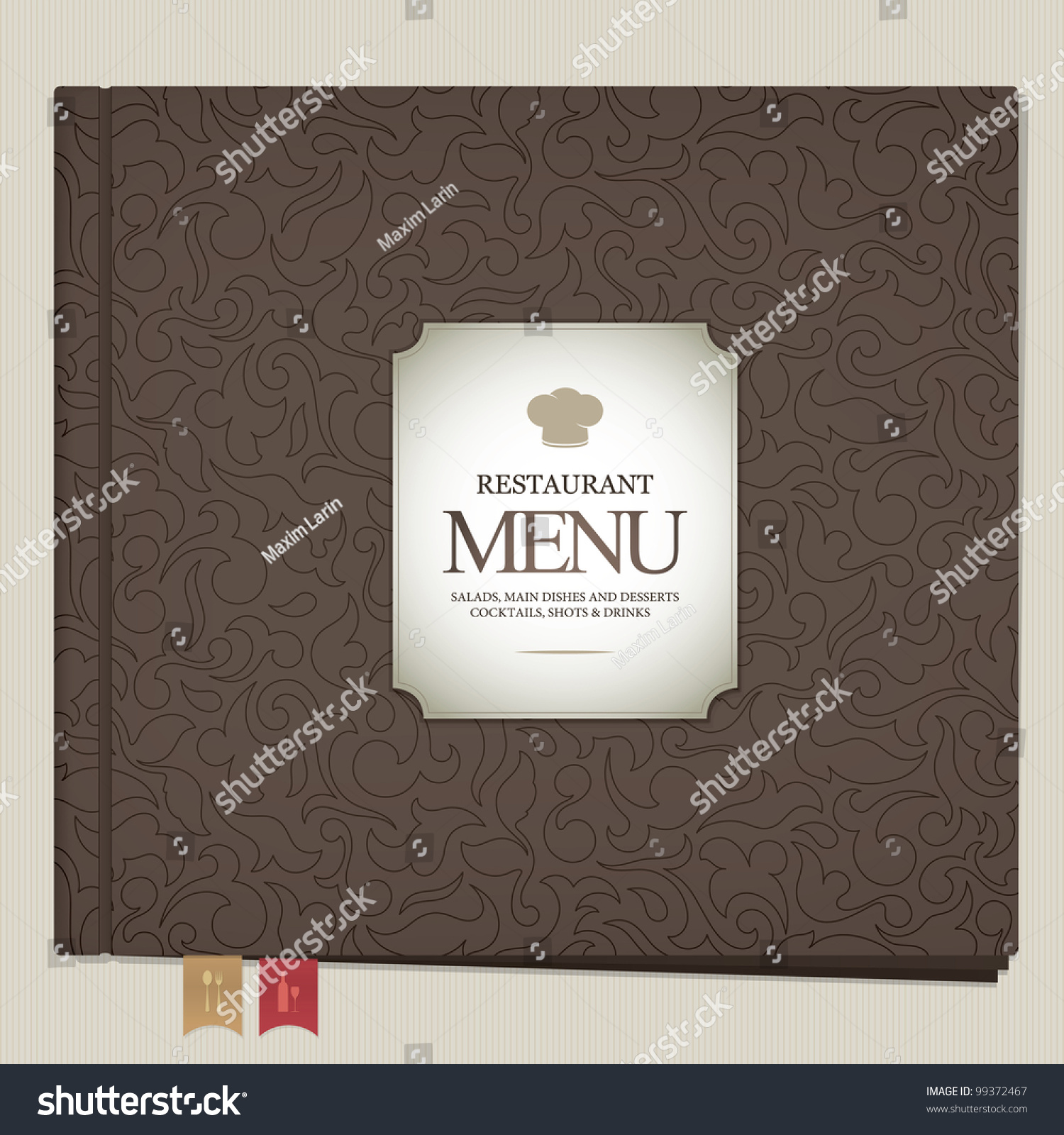 Restaurant menu design book with bookmarks stock vector