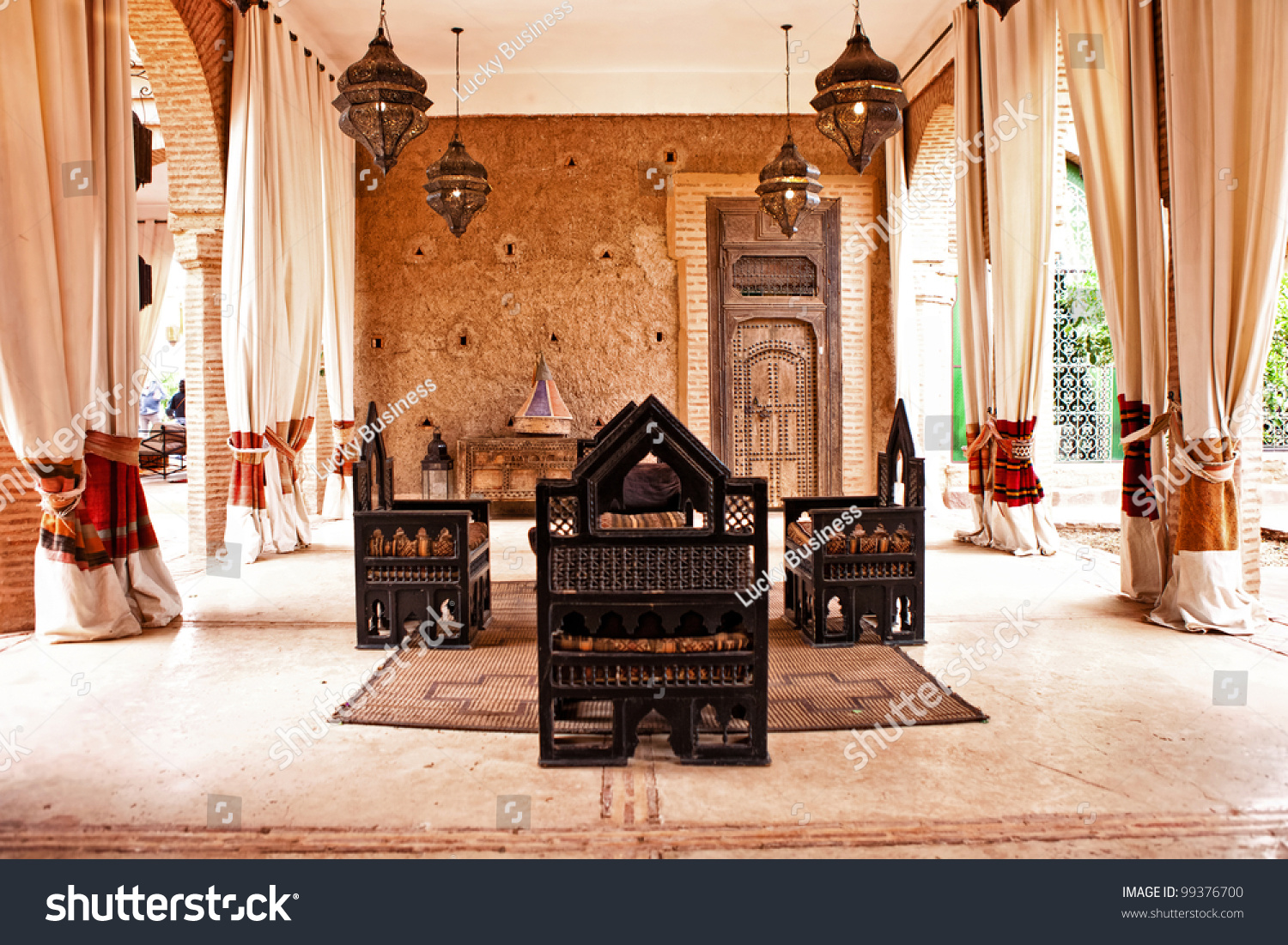 Arabic Living Room Decoration Of Traditional Arabic Place Relax Living Room Stock Photo