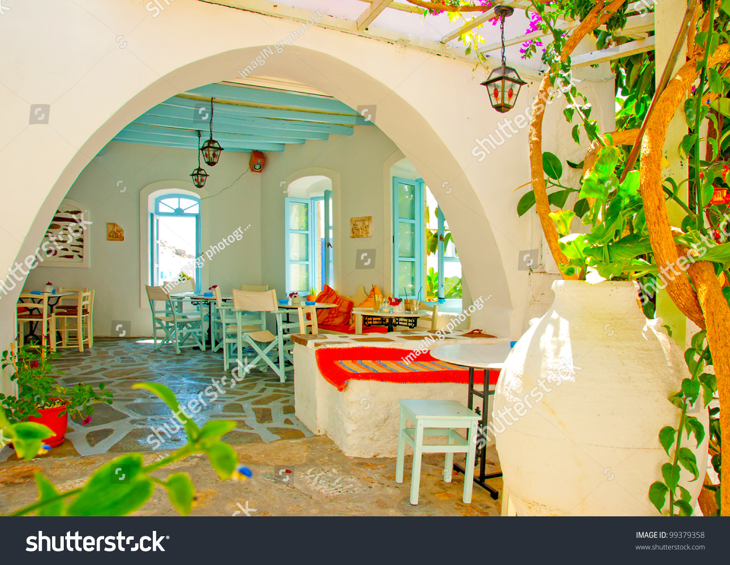 Old beautiful traditional house in chora the capital of amorgos island - Inside Of A Beautiful Cafe In An Old Traditional House In Chora The Capital Of Amorgos