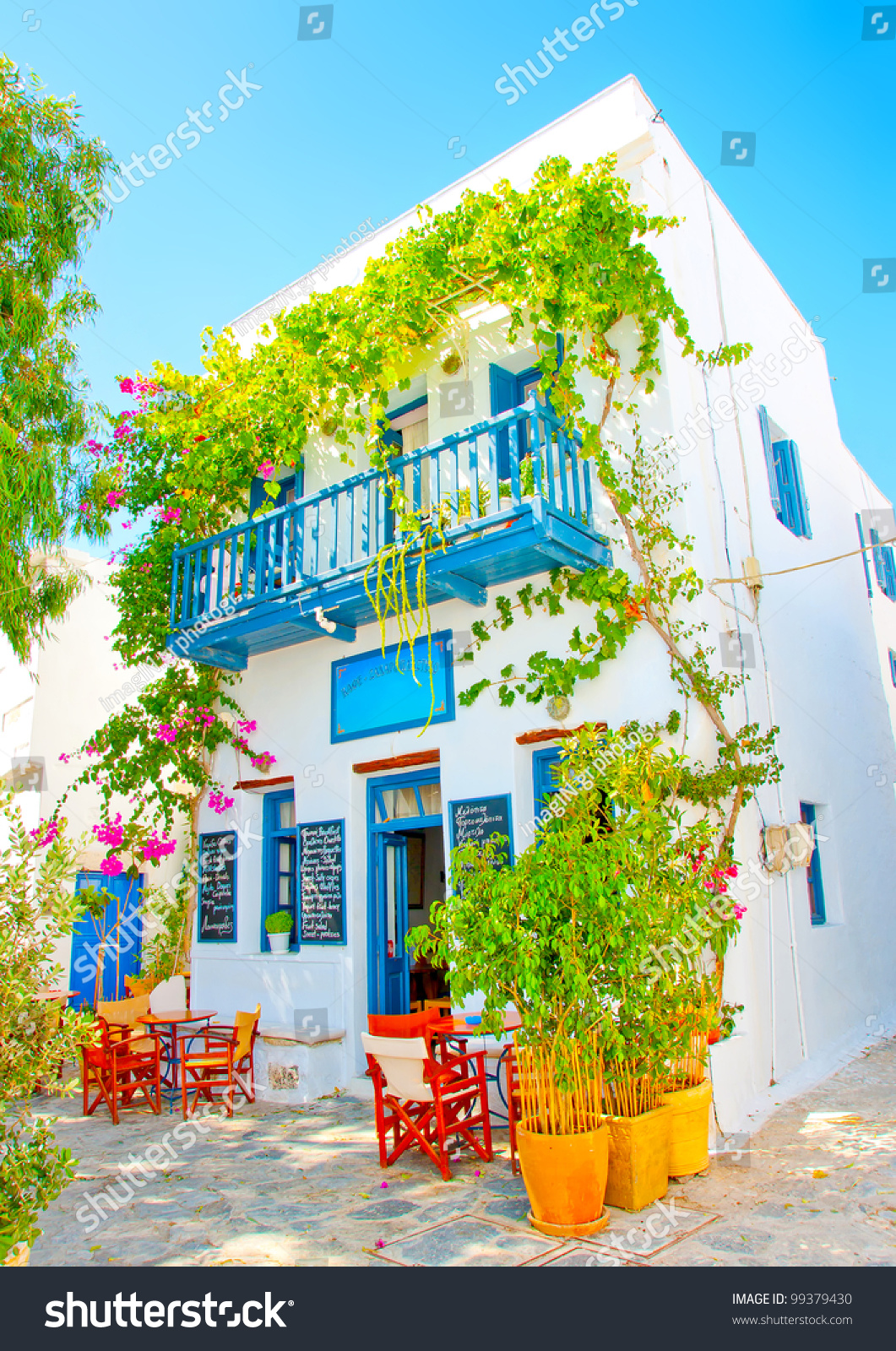 Old beautiful traditional house in chora the capital of amorgos island - Outside Of A Beautiful Cafe In An Old Traditional House In Chora The Capital Of Amorgos