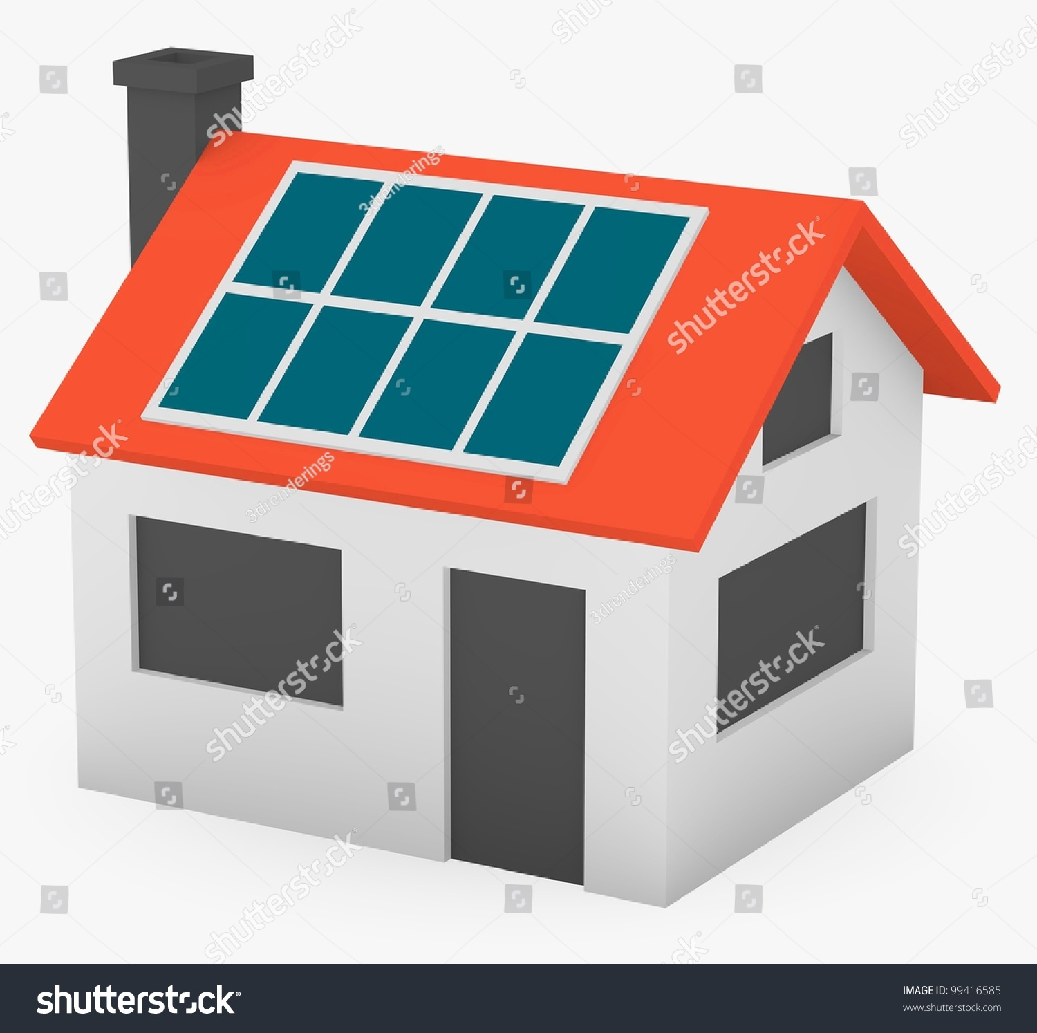 3d Render Of Cartoon House With Solar Panels Stock Photo