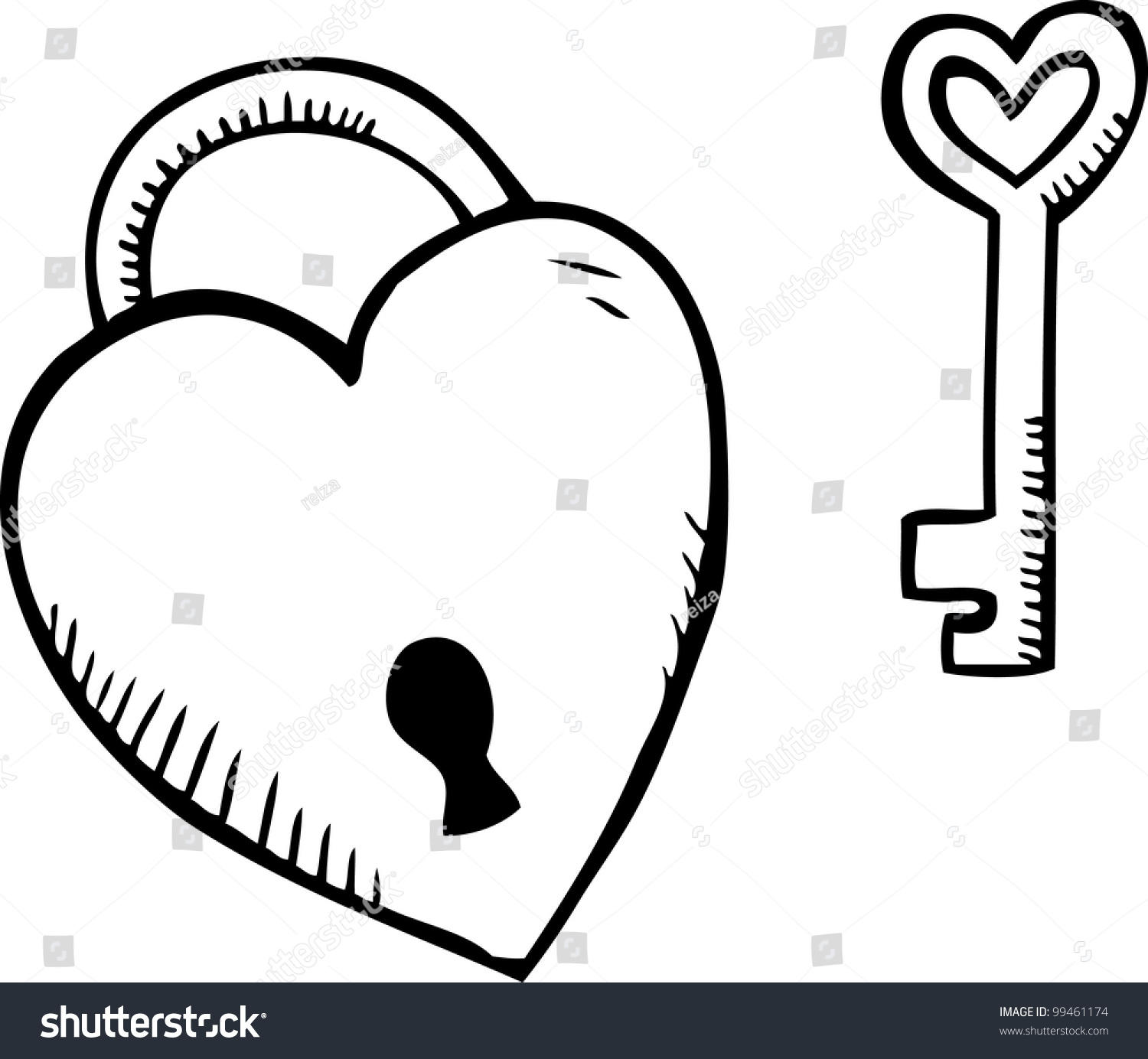 Simple Hand Drawing Heart Shape Padlock Stock Vector Royalty Free 99461174