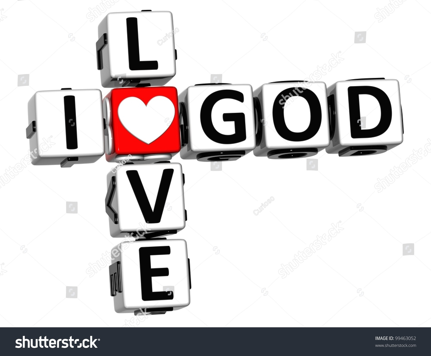 3d I Love God Crossword Block Text On White Background ...