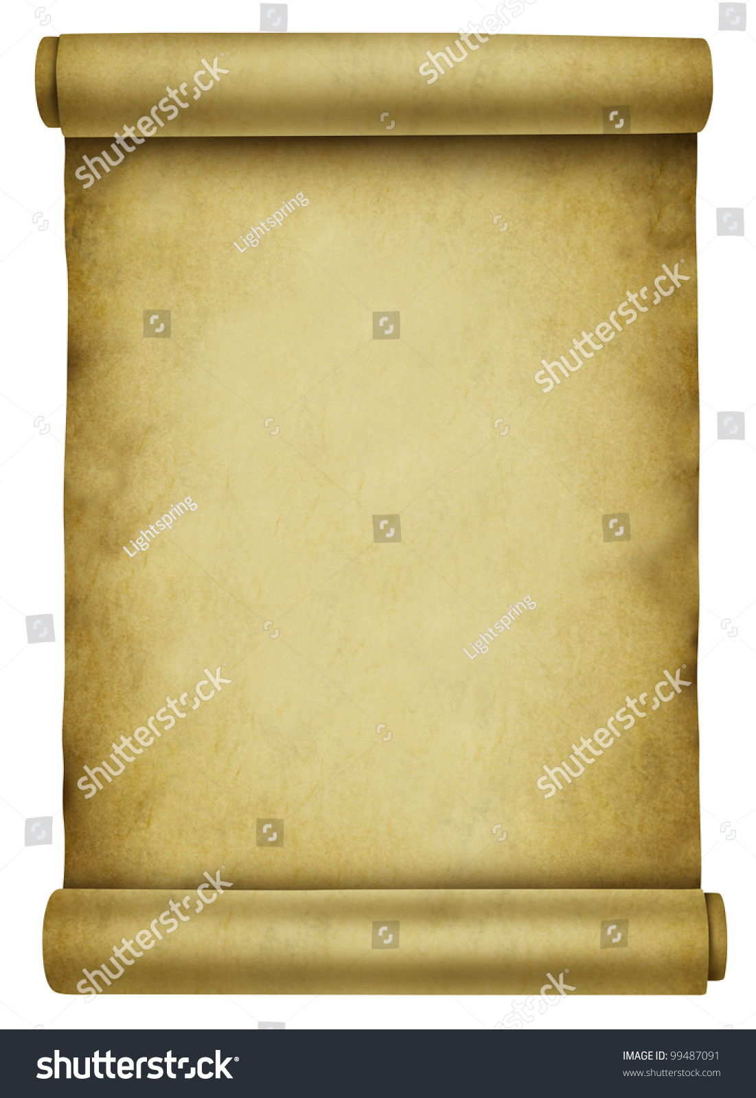 blank scroll on ancient parchment paper document used for