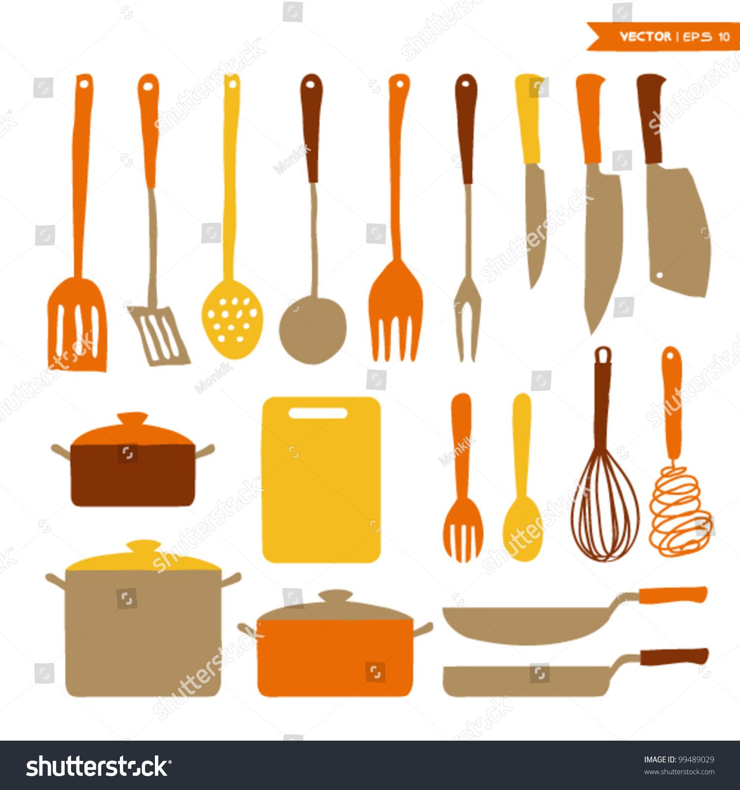 Kitchen utensils set stock vector 99489029 shutterstock for Kitchen set vector