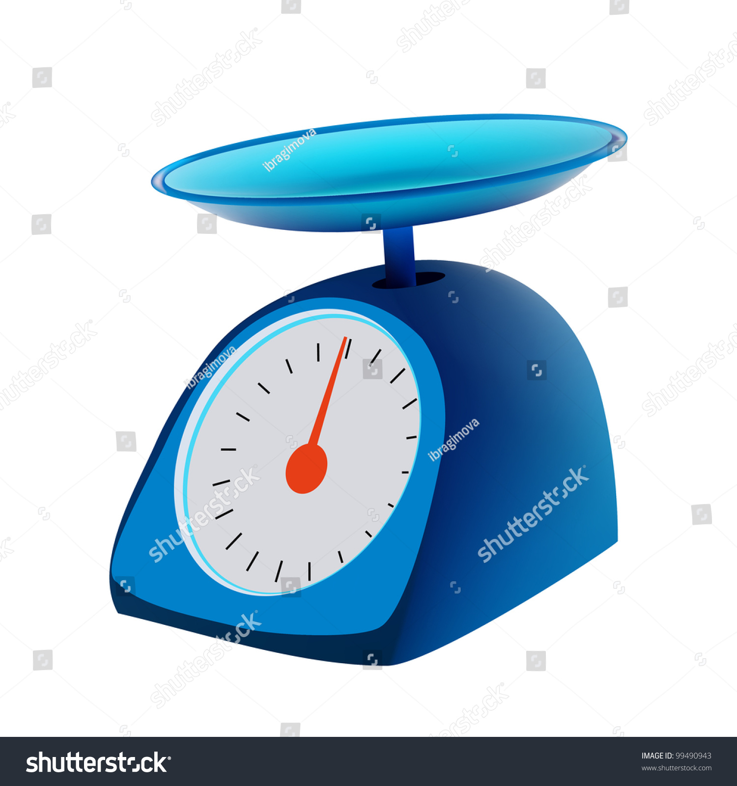Blue Kitchen Scales: Blue Kitchen Scales Isolated Stock Vector Illustration