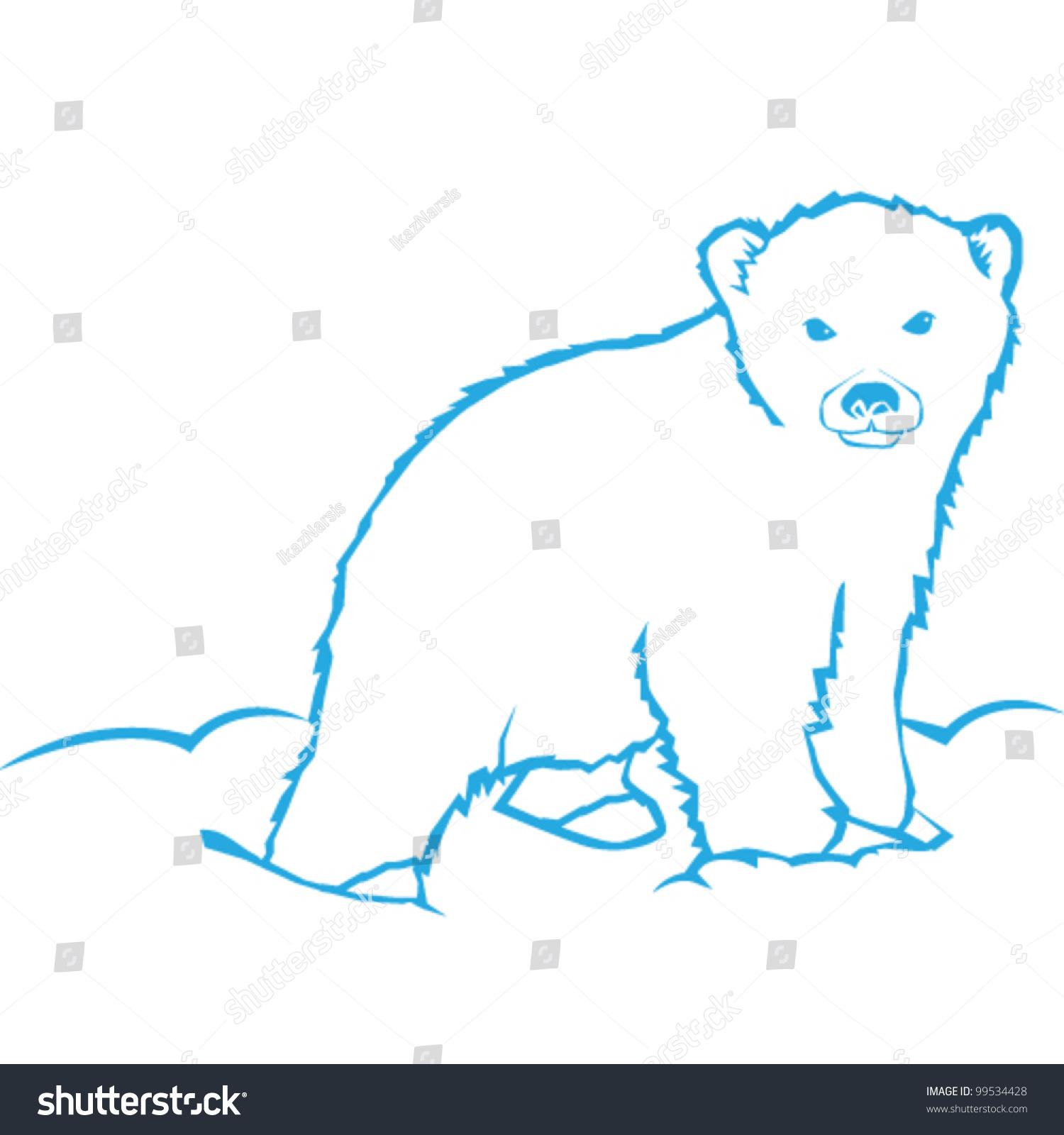 polar bear vector line art illustration stock vector 99534428