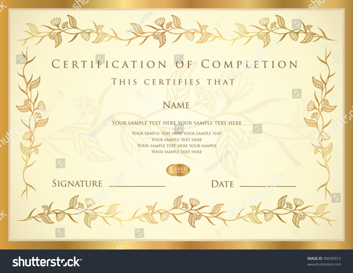 Certificate completion template diploma stock vector 99545912 certificate of completion template diploma yadclub Image collections