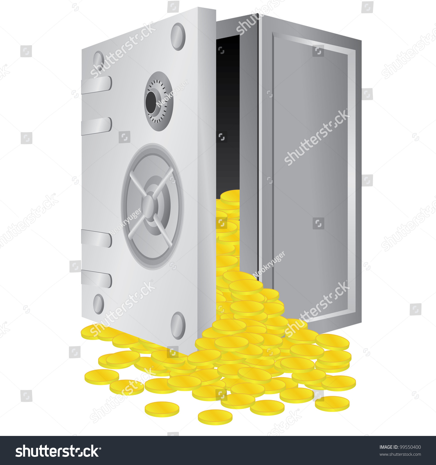 Opened Safe Box With Gold Coins Inside On The White Background ...