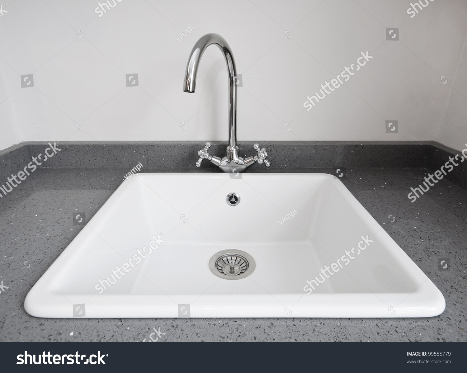 Large White Sink : Large Retro Style White Ceramic Kitchen Sink Stock Photo 99555779 ...