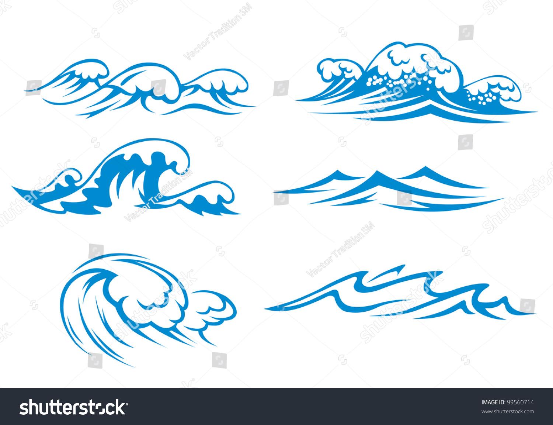 ocean sea waves set design such stock vector 99560714