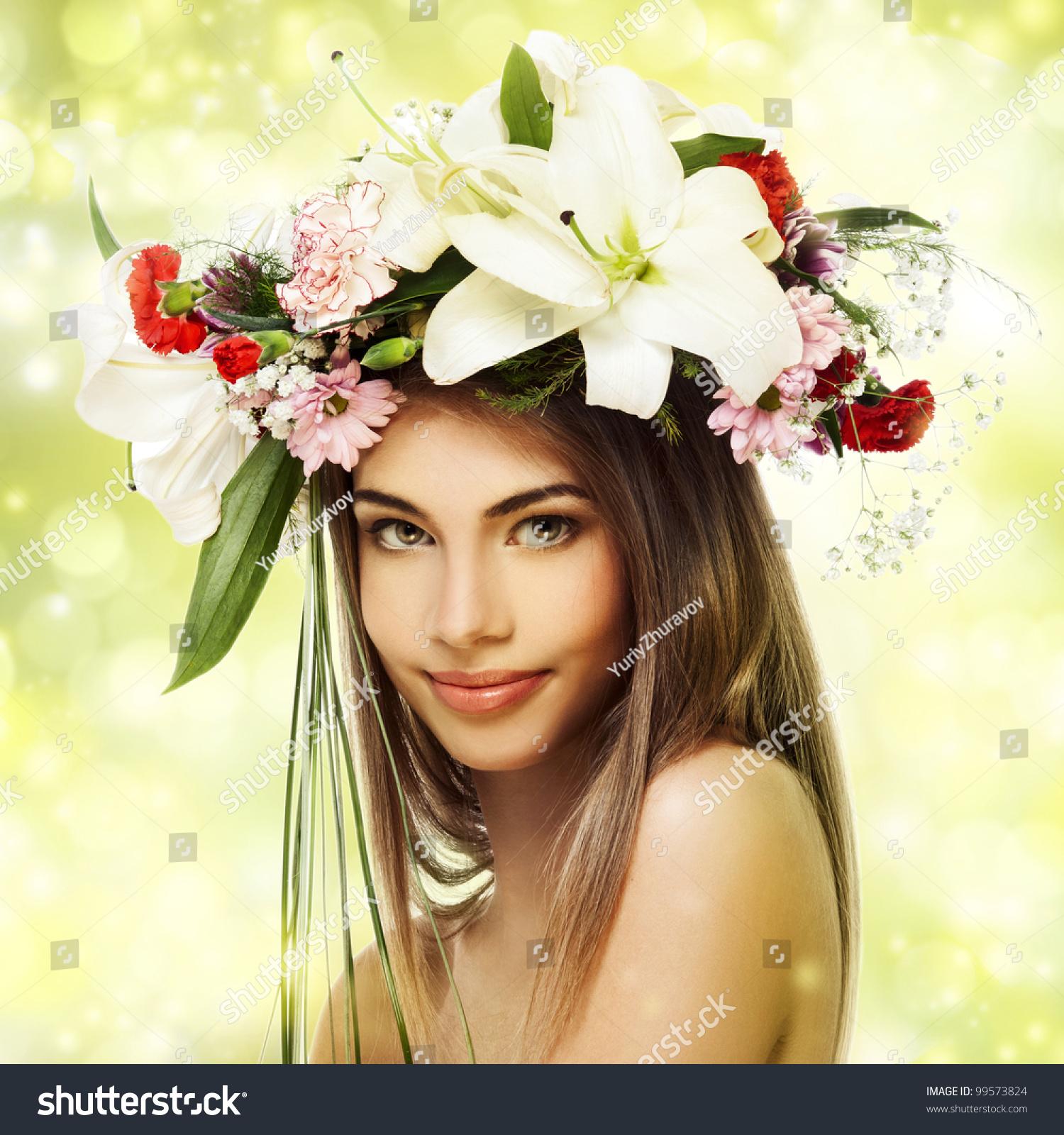 Beautiful woman flower wreath stock photo edit now 99573824 beautiful woman with flower wreath izmirmasajfo