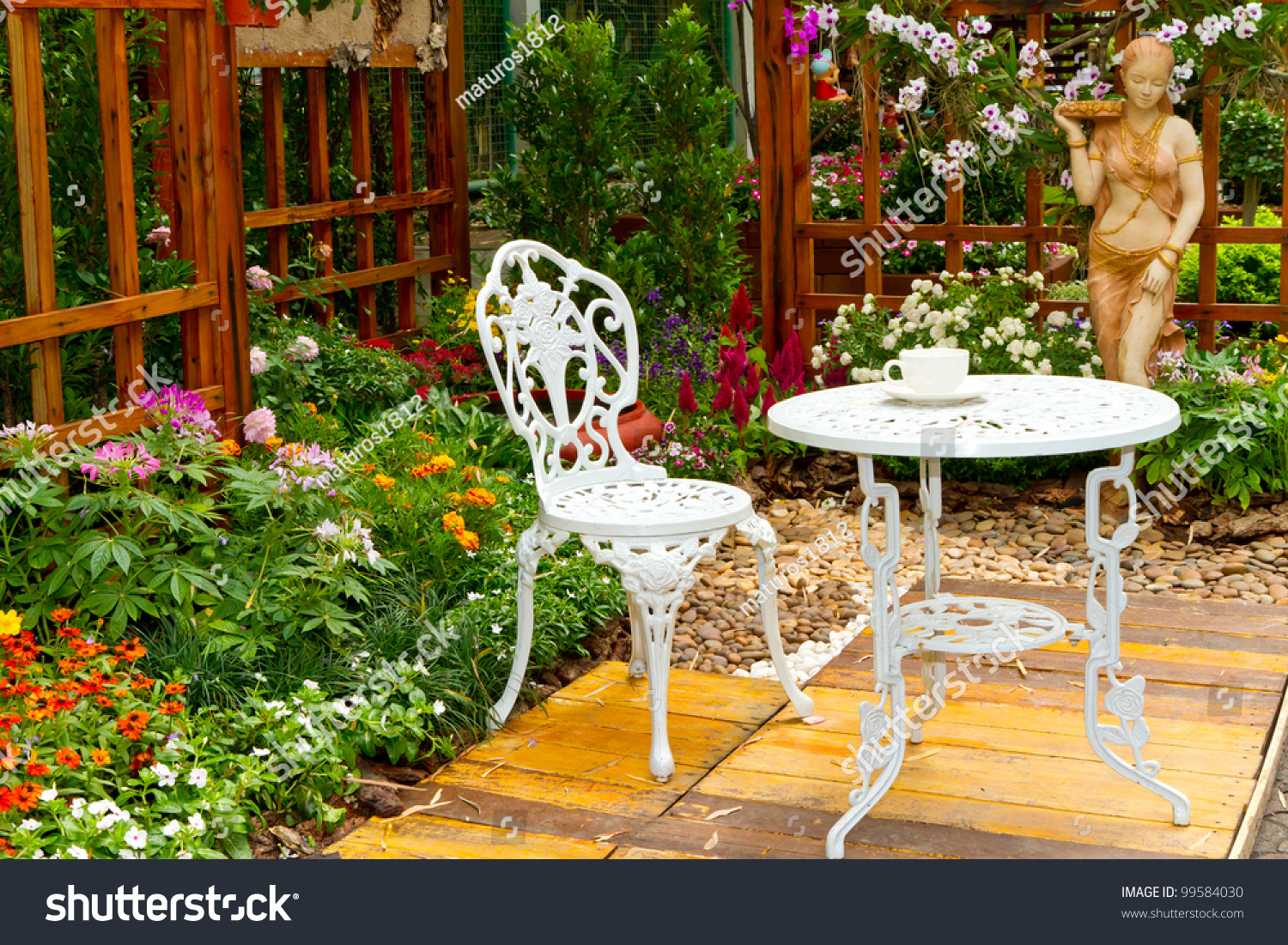 Beautiful Garden White Tea Table Chair Stock Photo (Edit Now) 12