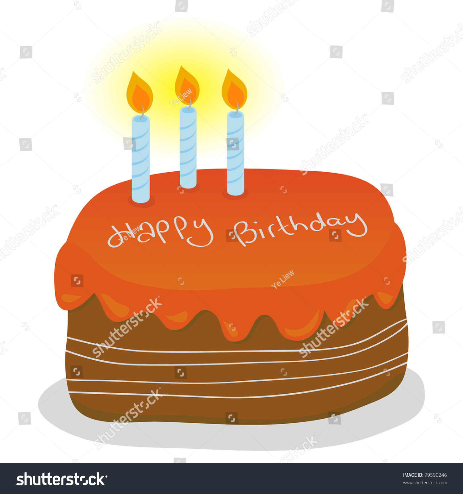 Orange Birthday Cake Three Blue Candles Stock Vector Royalty Free