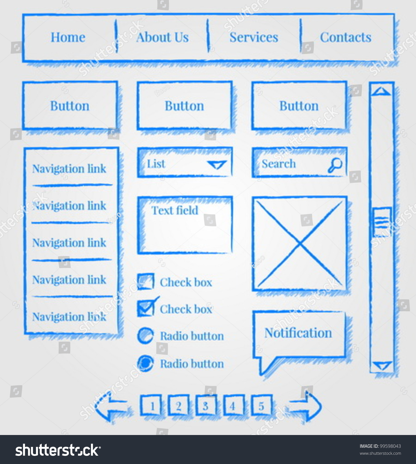 Website Wireframes Template Design Sketch Style Stock Vector ...