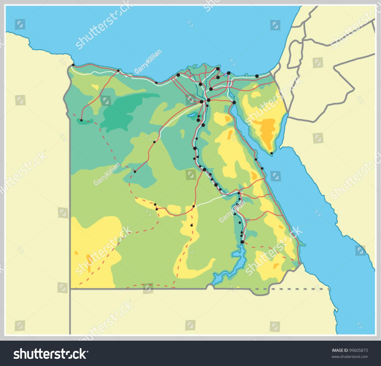 Vector Egypt Map Stock Vector Shutterstock - Map of egypt vector free