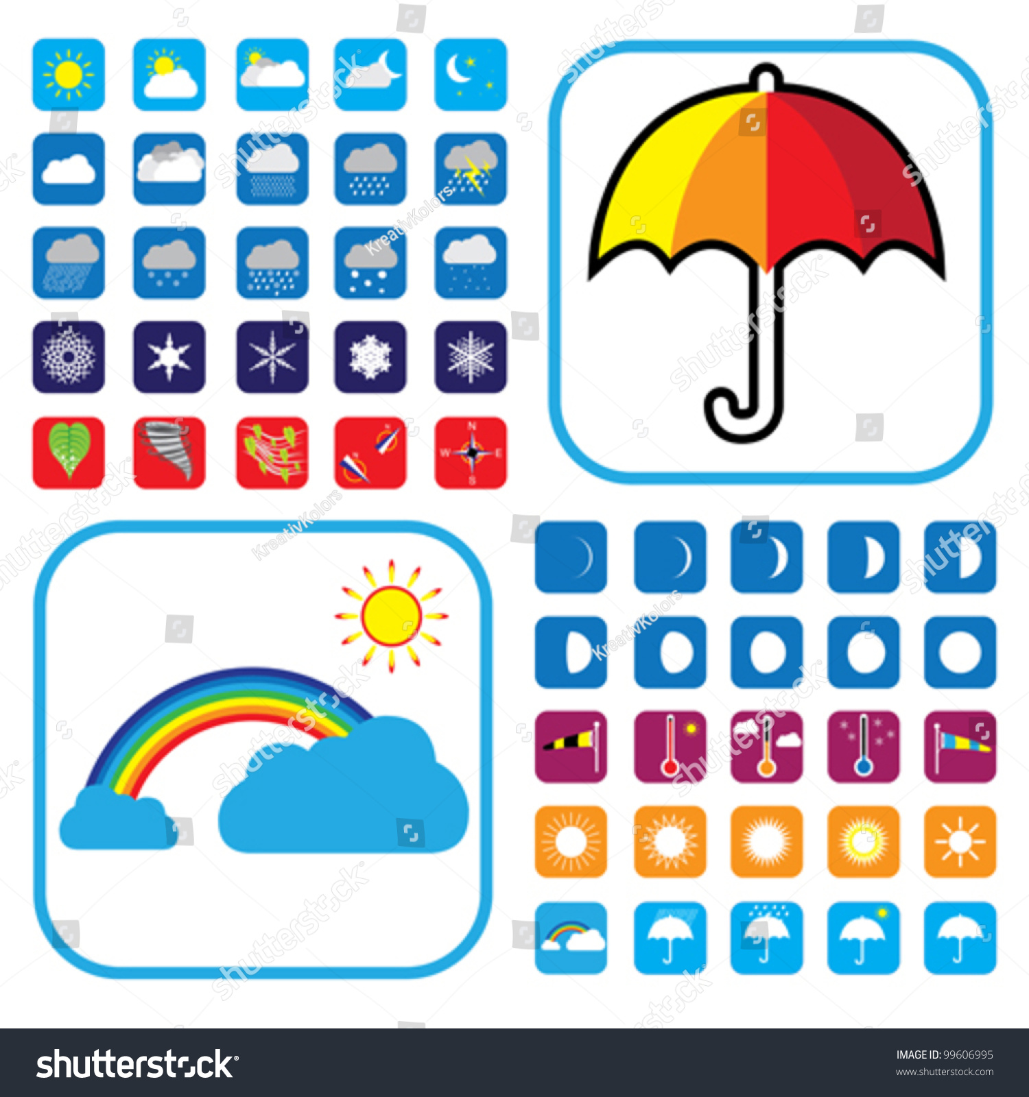 Weather icons set showing 50 signs stock vector 99606995 shutterstock weather icons set showing 50 signs and symbols for websites newspapers etc buycottarizona Choice Image
