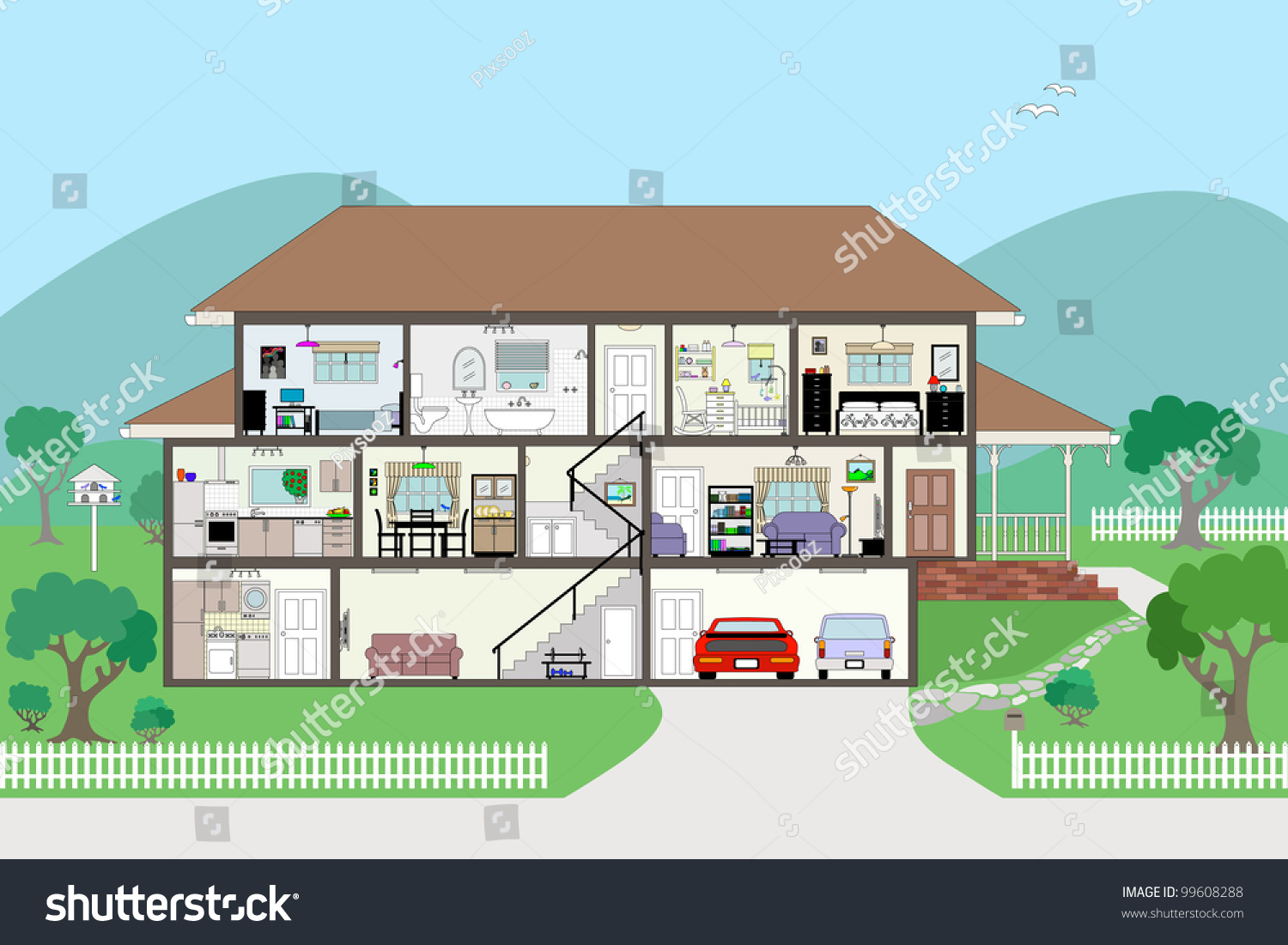 Detailed Modern House Interior Cutaway Stock Vector Shutterstock