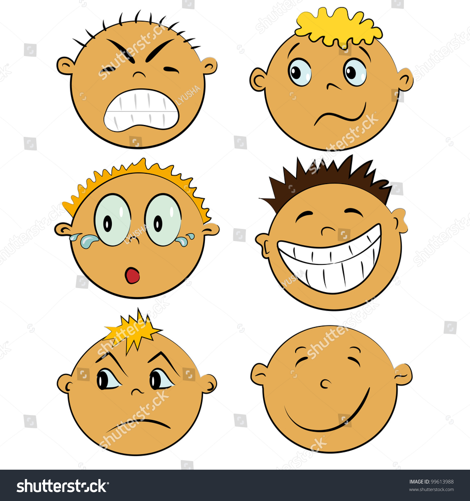 Printables Emotion Faces emotion faces set cartoon children emotions stock vector 99613988 collection