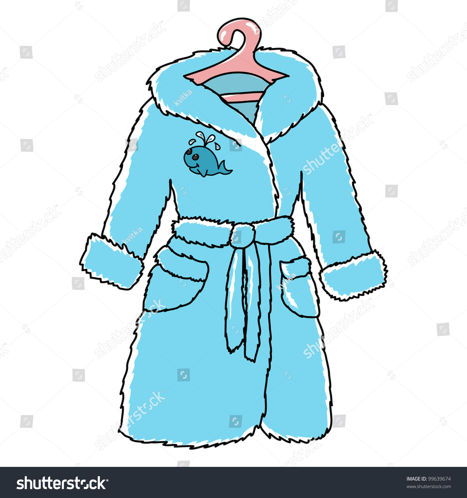Cartoon Childish Bathrobe With Cute Whale