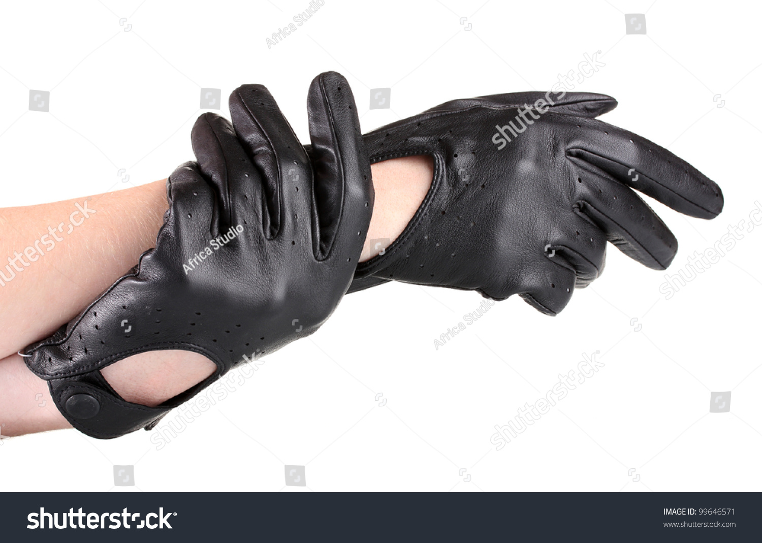 a589bc1c4 Womens Hands Black Leather Gloves Isolated Stock Photo (Edit Now ...