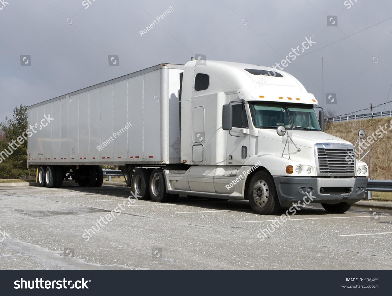 Tractor Trailer Stock : White tractor trailer semi truck stock photo