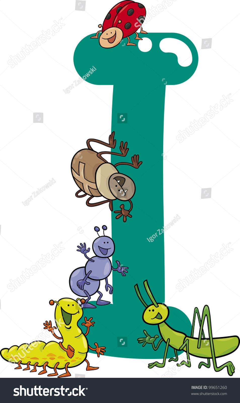 Cartoon Illustration Letter Insects Stock Vector 99651260