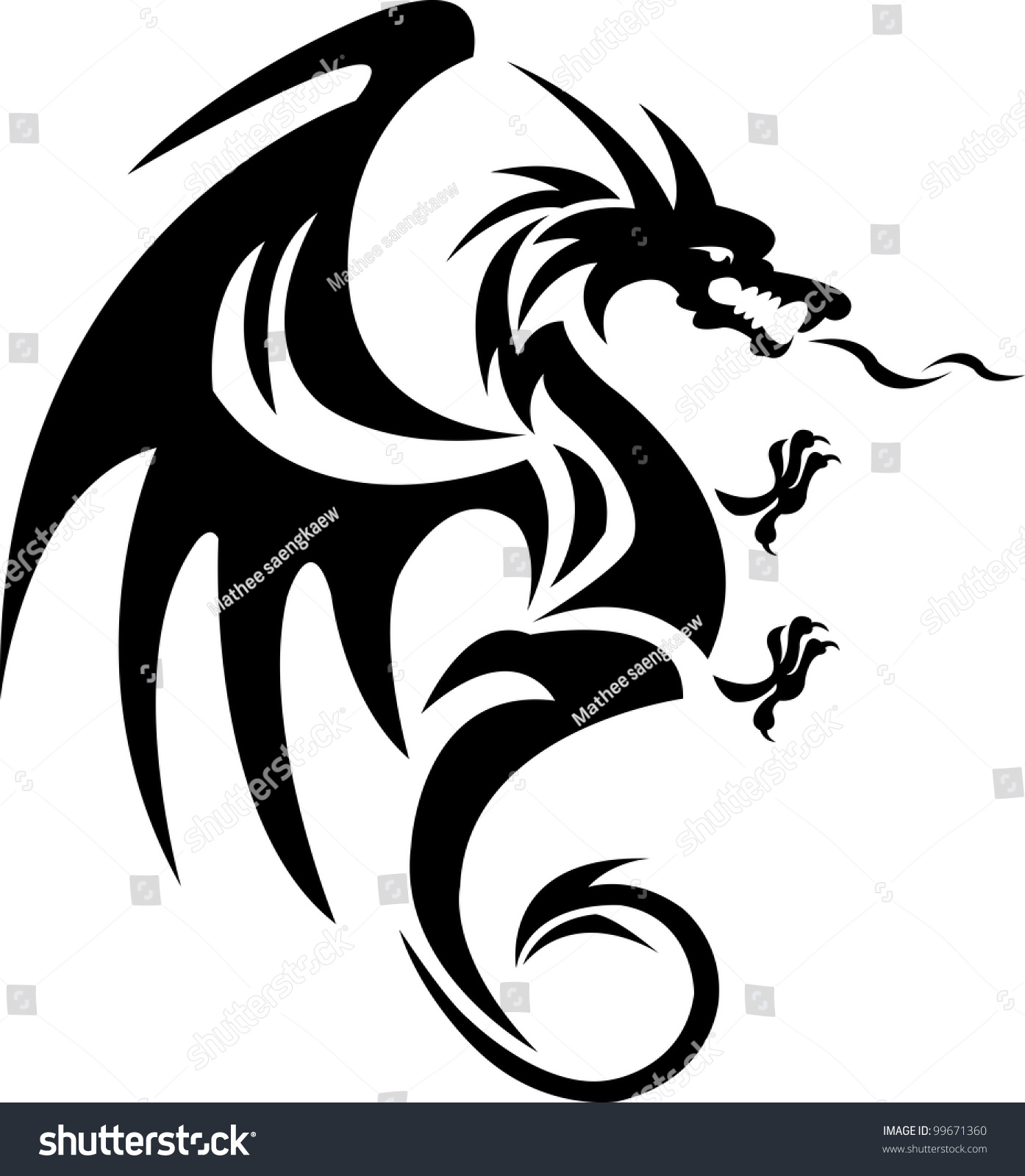 dragon tattoo stock vector 99671360 shutterstock. Black Bedroom Furniture Sets. Home Design Ideas