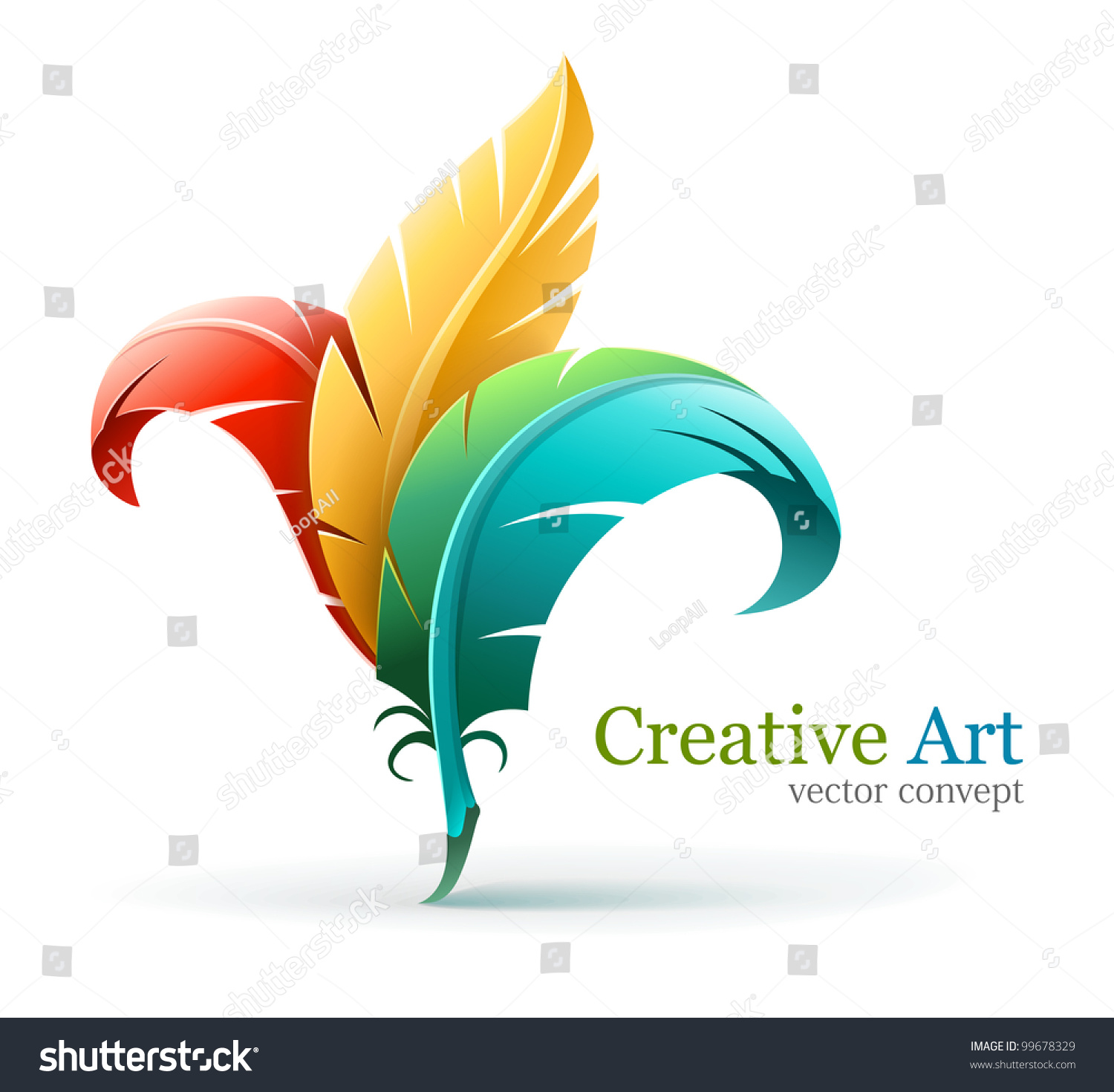 Creative Art Concept With Color Red Yellow And Blue Feathers Vector Illustration Isolated On White