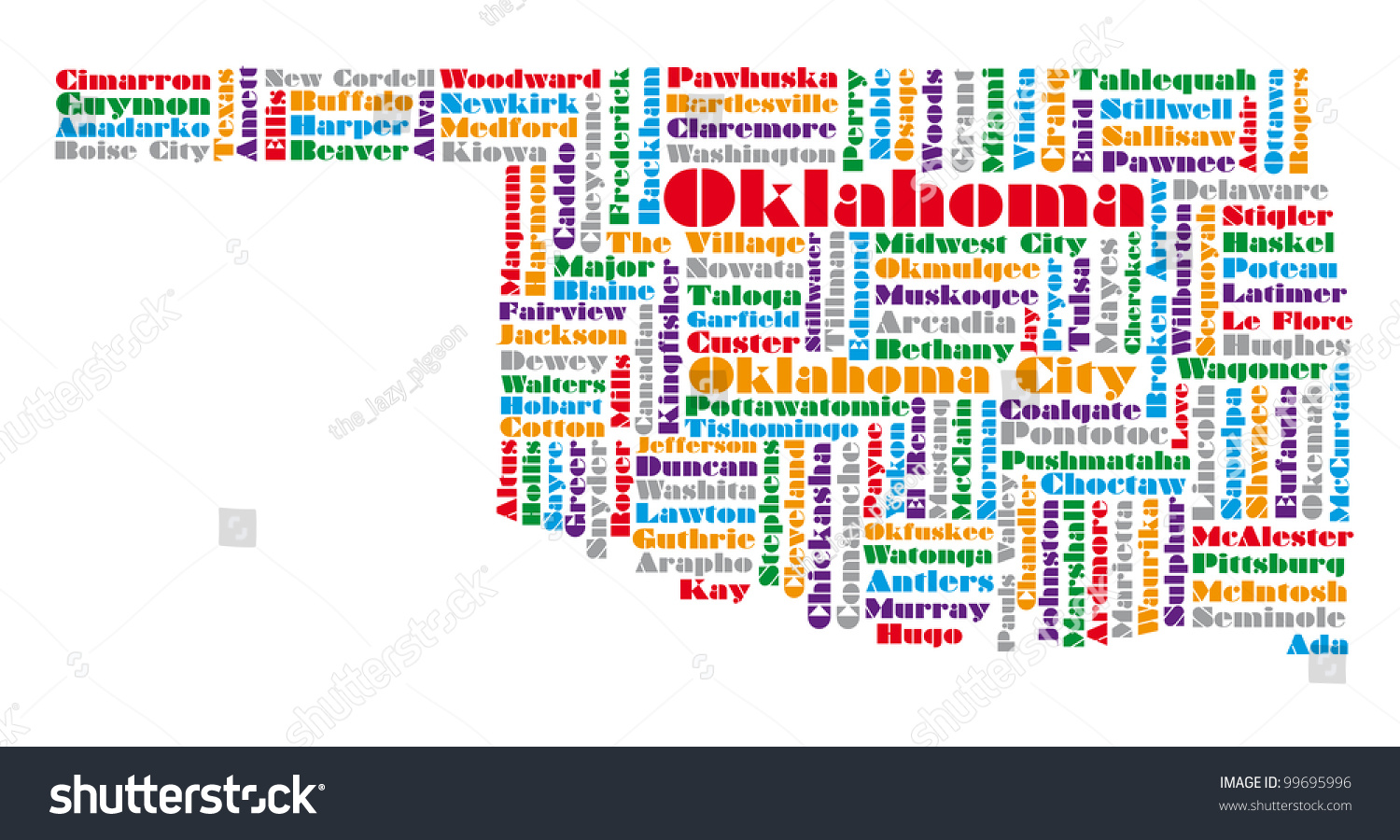 Word Cloud Map Oklahoma State Stock Illustration 99695996 - Shutterstock