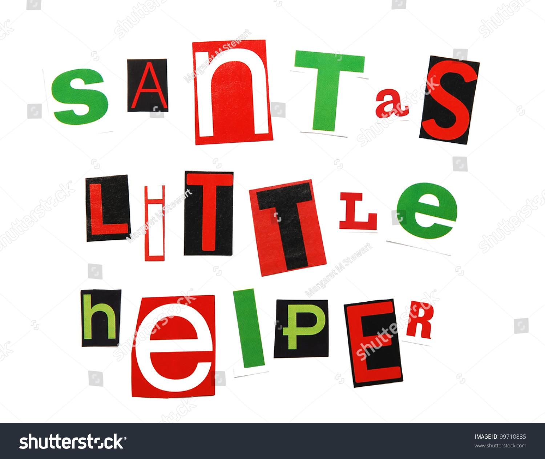 Santas Little Helper Written Red Green Stock Illustration