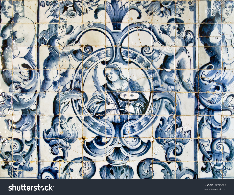 Vintage azulejos ancient tiles obidos portugal stock photo 99715589 shutterstock - Azulejos vintage ...